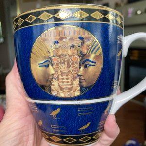 Vintage Fathi Mahmoud Egypt Motif Gold/Blue Cup